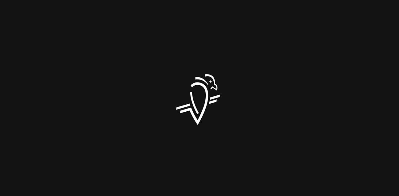Mohammed Al Dabi raven logo peached black and white smoky line logo sleek logocore