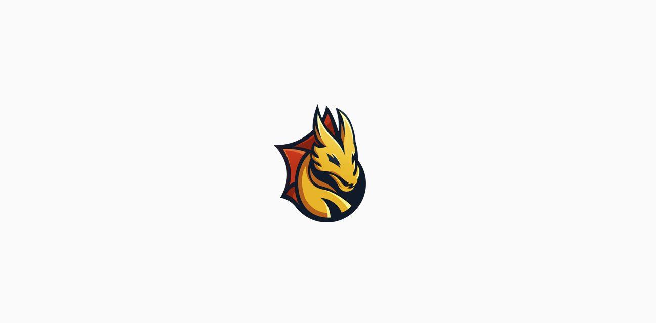 dragon logo bitguard logo golden yellow powerful mascot